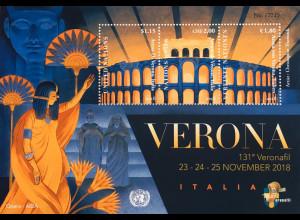 Vereinte Nationen UN UNO Wien 2018 Block 51 Briefmarkenausstellung in Verona