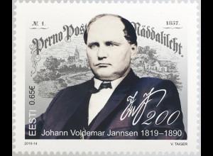 Estland EESTI 2019 Neuheit Johann Voldemar Janssen Publizist Verleger Volkslied