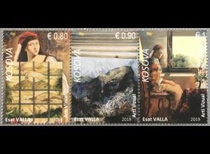 Kosovo 2019 Neuheit Visuelle Kunst Gemälde Stilleben Dreierstreifen