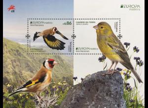 Madeira 2019 Neuheit Europaausgabe Einheimische Vogelarten Kanarienvogel Block