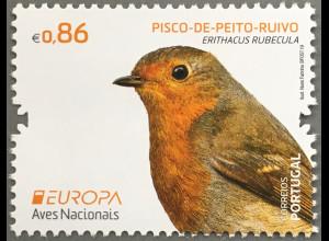 Portugal 2019 Neuheit Europaausgabe Einheimische Vogelarten Rotkehlchen