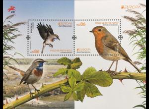 Portugal 2019 Neuheit Europaausgabe Einheimische Vogelarten Rotkehlchen Block