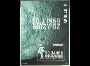 Österreich 2019 Block 106 50 Jahre Mondlandung Apollo 11 Man on the Moon
