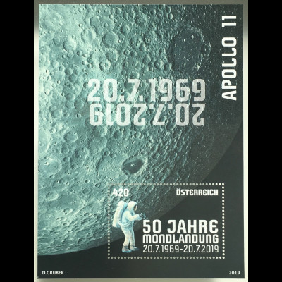 Österreich 2019 Block 106 50 Jahre Mondlandung Apollo 11 Man on the Moon