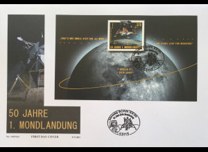 Bund BRD Ersttagsbrief FDC 1. Juli 2019 Neuheit 50 Jahre erste Mondlandung Block