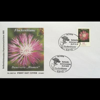 Bund BRD Ersttagsbrief FDC 1. Juli 2019 Neuheit Flockenblume Dauerserie Flora