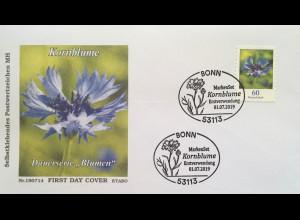 Bund BRD Ersttagsbrief FDC 1. Juli 2019 Neuheit Kornblume Dauerserie Flora