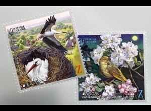 Ukraine 2019 Neuheit Europaausgabe Einheimische Vogelarten Bird Uccello