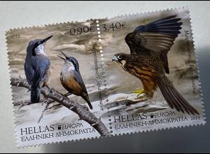 Griechenland Greece 2019 Nr. 3050-51 Europaausgabe Einheimische Vögel Uccello