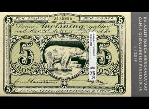 Grönland 2019 Block 92 Banknoten Kronenscheine mit Eisbär Block