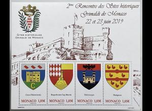 Monako Monaco 2019 Block 131 Geschichte Grimaldis Wappen der Familie Heraldik