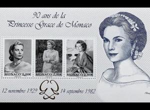 Monako Monaco 2019 Block 130 Grace Kelly 90 Jahre Prinzessin Grazia Patrizia