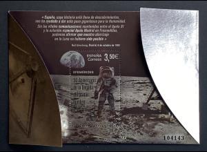 Spanien España 2019 Neuheit 50 Jahre Mondlandung Neill Armstrong Block Silber