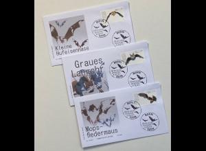 Bund BRD Ersttagsbrief FDC 1. August 2019 Nr. 3485-87 Fledermaus Jugend Fauna