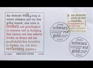 Bund BRD Ersttagsbrief FDC 1. August 2019 Nr. 3488 100 Jahre Reichsverfassung