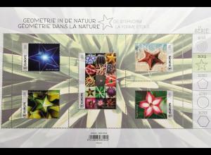 Belgien 2019 Block 240 aus der Serie Geometrie in der Natur Seestern Blüten