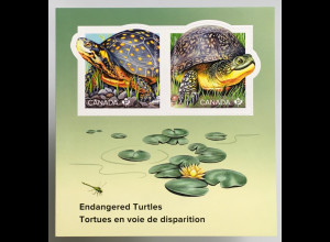 Kanada Canada 2019 Block 288 Gefährdete Schildkrötenart Wasser- Landschildkröte
