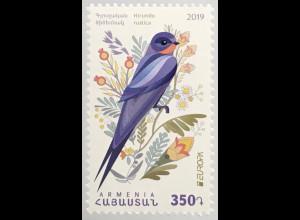Armenien 2019 Neuheit Europaausgabe Vögel HIrunda Rusti Rauchschwalbe Fauna