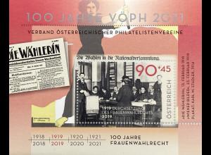 Österreich 2019 Block 108 Frauenwahlrecht Gleichberechtigung Emanzipation