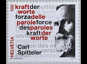 Schweiz 2019 Neuheit Carl Spittler 100 Jahre Literaturnobelpreis Kraft der Worte