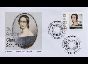 Bund BRD Ersttagsbrief FDC 5. September 2019 Nr. 3493 Geburtstag Clara Schumann.
