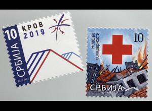 Serbien Serbia 2019 Zwangszuschlag ZZ 92 Rotes Kreuz Dach Krov Brennende Stadt