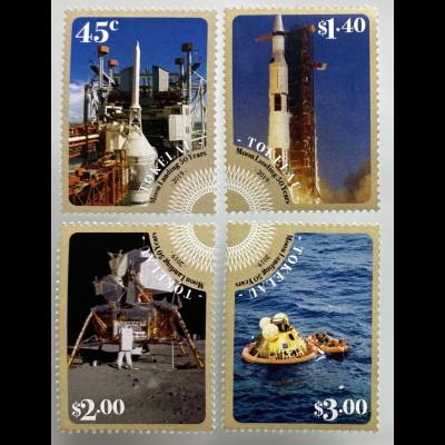 Tokelau Inseln 2019 Nr. 539-42 Mondlandung 1969 Neill Armstrong Space Shuttle