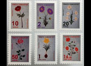 Türkei Turkey 2019 Dienstmarken Michel Nr. 387-92 Suminagashi Blumen