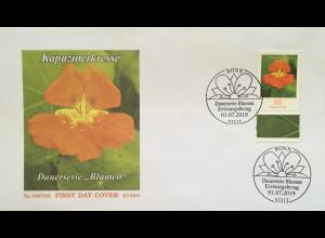 Bund BRD Ersttagsbrief FDC 1. Juli 2019 Nr 3469 Kapuzinerkresse Dauerserie Flora