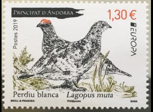 Andorra französisch 2019 Nr. 850 Europa Einheimische Vogelarten Ornithologie