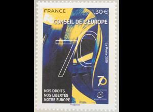 Frankreich France 2019 Neuheit Europarat 70 Jahre für Eintreten für Rechte