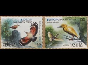 Serbien Serbia 2019 Nr. 877-78 Einheimsiche Vogelarten Europaausgabe Zaunkönig