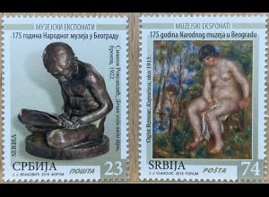 Serbien Serbia 2019 Nr 879-80 Museumsexponate Kunst Handwerk Bildhauerei Malerei