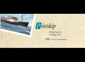 Island Markenheft Nr. 4 Tag der Briefmarke 1991 enthält H-Bl. 4 Postschiffe