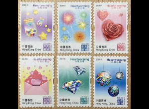 Hongkong 2019 Neuheit Hearwarming Grusskarten mit Glitzerfolie Herzmotiv Stern