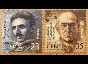 Serbien Serbia 2019 Nr. 881-82 Tesla und Milankovic Wissenschaftler Erfinder