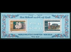 Indien Michel Nr. Block 4 ** vom Juni 1987 Int. Briefmarkenausstellung INDIA `89