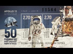 Bosnien Herzegowina Serbische Republik 2019 Block 42 50 Jahre erste Mondlandung