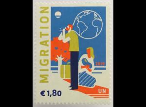 Vereinte Nationen UN UNO Wien 2019 Nr. 1050 Freimarke Migration Humanität