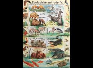 Tschechische Republik 2019 Block 77 Zoologische Gärten Fauna Krokodil Kranich