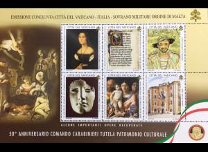 Vatikan Cittá del Vaticano 2019 Block 60 50 Jahre Carabinieri-Kommando Schutz