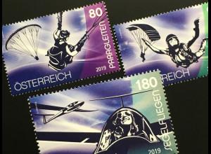 Österreich 2019 Neuheit Sport und Luft Paragleiten Fallschirmspringen Segelflug