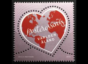 Aland 2019 Nr. 473 Postcrossing herzförmige Briefmarke Postkartenpost aller Welt