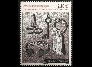 Andorra französisch 2019 Nr. 854 Archäologie Margineda Ausgragungen Werkzeug