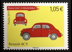 Andorra französisch 2019 Nr. 855 Renault 4 CV Oldtimer Historische Fahrzeuge