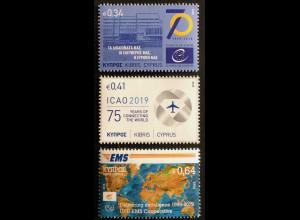 Zypern griechisch Cyprus 2019 Nr. 1418-20 70 Jahre Europarat Zivilluftfahrt