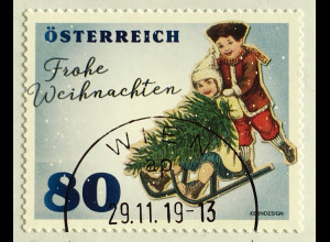 Österreich 2019 Neuheit Weihnachten Vintage Christmas Natale Kinderschlitten