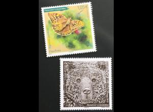 Andorra französisch 2019 Nr. 856-57 Geschützte Tiere Braunbär und Schmetterling