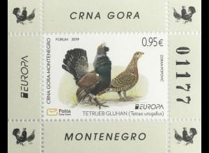 Montenegro 2019 Block 24 Europaausgabe Einheimische Vogelarten Birds Ucello