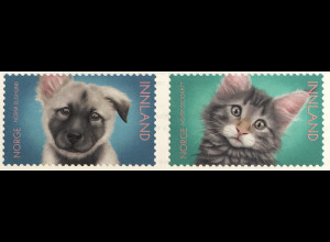 Norwegen 2019 Nr. 2008-09 Tierkinder Katze Hund Haustiere Cats and Dogs